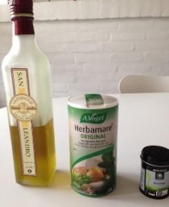 Olivenolie, salt, ramsløg